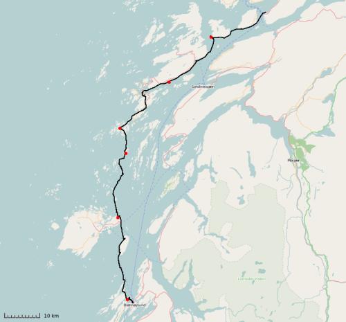 Kart over padleturen