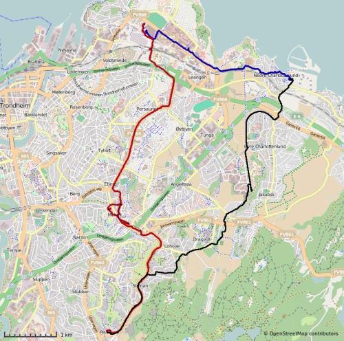 Svart: Grilstad-Risvollan. Rødt: Risvollan-Moholt-Lade. Blått: Lade-Grilstad.