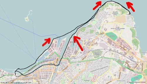 Dagens rute. Opplevd vindretning i rødt.