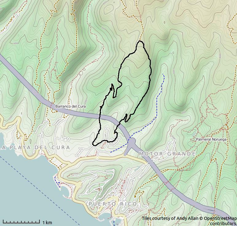 Dagens rute ovenfor Tauro.