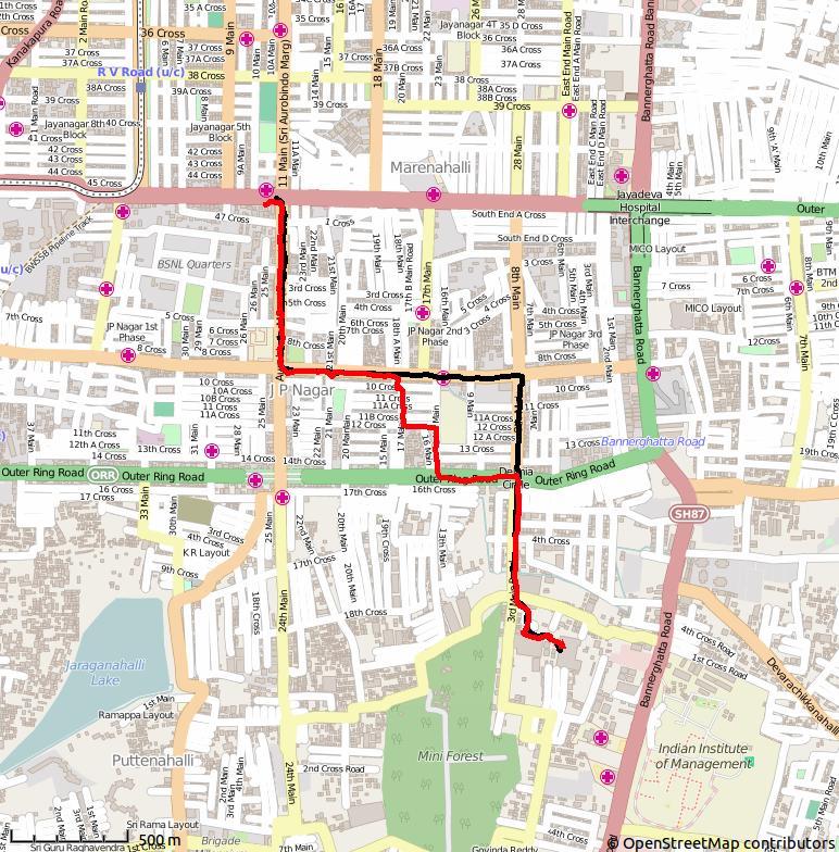 Dagens rute: Svart til jobb, rødt fra jobb.